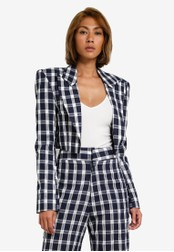 AfiqM blue Gingham Crop Suit Jacket AF546AA0S2MBMY_1