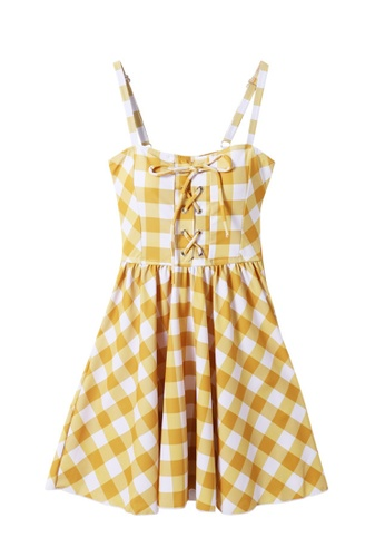 ZITIQUE yellow Women's Cute Grid Printing One-piece Swimsuit - Yellow B1439US4E41E3EGS_1