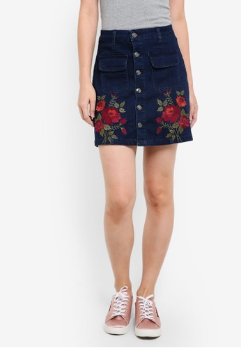 ZALORA blue Denim Embroidered Mini A-Line Mini Skirt EBD73ZZD1CA82DGS_1