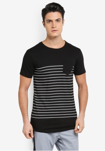 Cotton On 黑色 and 白色 短袖條紋口袋T恤 1573AAAB3EAA12GS_1