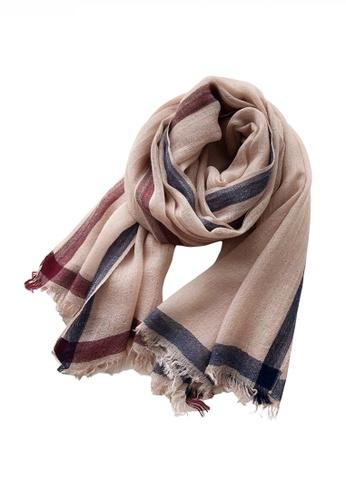 HAPPY FRIDAYS Artificial Wool Mix Color Stripe Pattern Thin Scarf JW JS-1111 8B4C1AC0D39F55GS_1