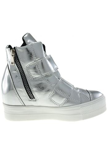 Maxstar silver Maxstar Women's C2 Dual Velcro Studed Hidden Heel PU High Top Sneakers US Women Size MA164SH70PZHSG_1