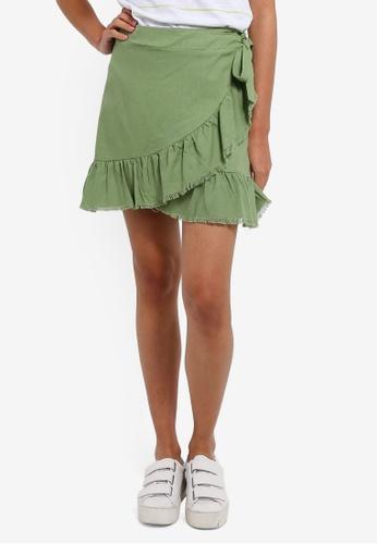 Cotton On green Woven Tessa Wrap Skirt 46728AAF4329FCGS_1