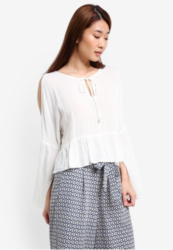 ZALORA white Relax Cold Shoulder Top 4B1CFAA0AA7FA2GS_1