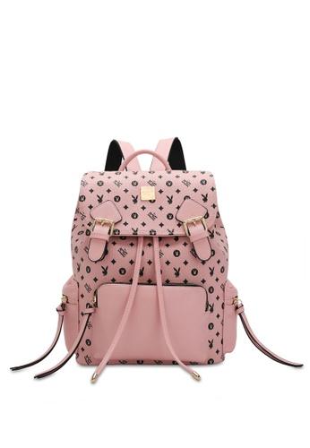 PLAYBOY BUNNY pink Women's Monogram Printed Backpack 0831FAC1626E13GS_1