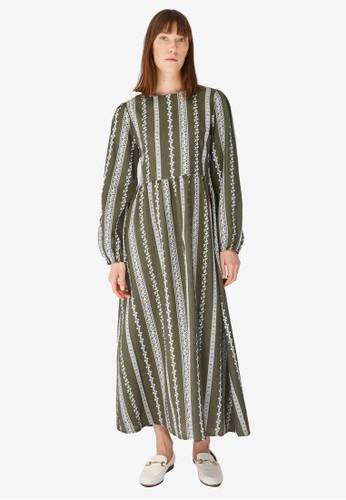 Trendyol green Khaki Boho Print Maxi Dress 8C12CAA8B500EBGS_1