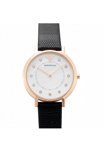 Emporio Armani [NEW] Emporio Armani Kappa White Mother of Pearl Dial Black Leather Ladies Watch AR80011 5A15CAC1FAB9E5GS_1