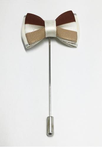 Splice Cufflinks Brown, White & Beige Flag Ribbon Lapel Pin SP744AC96KWTSG_1