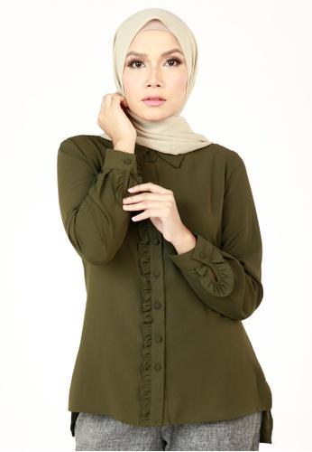 Ashura green Adora Ruffle Top F4B59AADE304EEGS_1