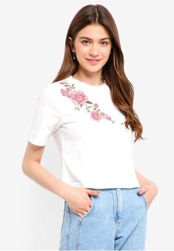 Something Borrowed white Embroidered Boxy Tee 57DF7AAF4E1FA1GS_1