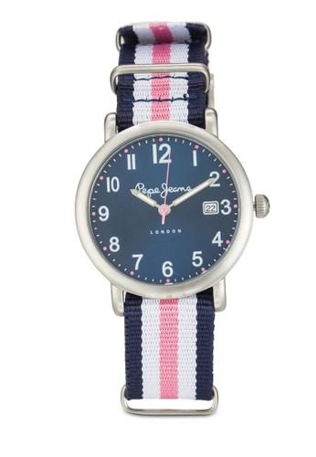 R2351esprit outlet 高雄105514 Charlie 條紋尼龍女士圓錶, 錶類, 飾品配件