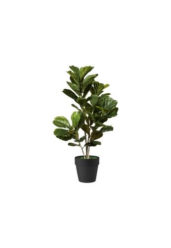 Propstation Potted Faux Silk Fiddle Fig Tree Plant 80cm in Black Ceramic Planter Pot 568C8HL6F838B8GS_1