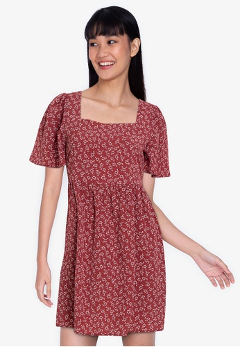 ZALORA BASICS multi Square Neck Babydoll Dress 1C875AA2D3CA0EGS_1