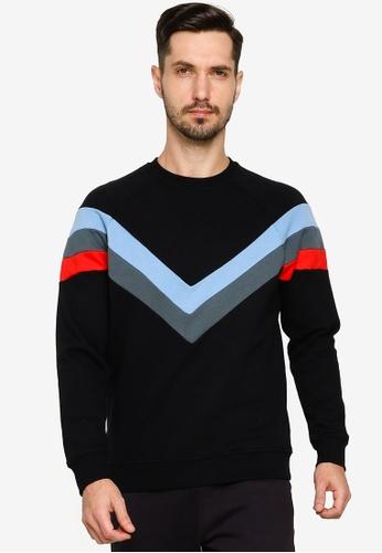 BLEND black Chevron Stripe Sweatshirt 546B9AA4768D99GS_1