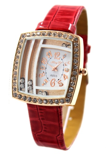 World of Watches red and gold Hong Li Elizabeth Leather Stoned Watch A855 WO566AC15JKQPH_1