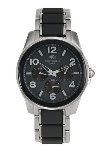 Roscani silver Roscani Marco 980 (Multifunction + WR 5ATM) Stainless Steel Black Bracelet Men Watch 313A8AC07C8370GS_1
