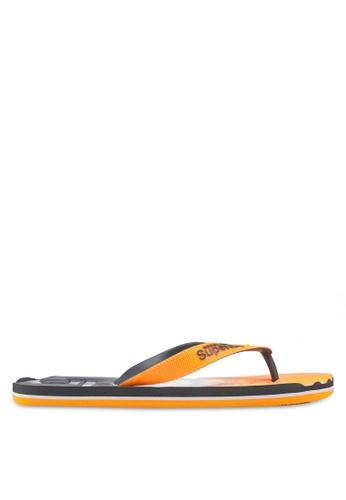 Superdry grey and orange Faded Base Flip Flops B29B1SHDE4E5FFGS_1
