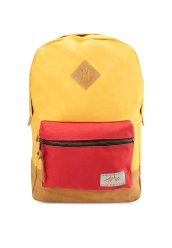 El Colegio 拼色後背包, 包, 後背zalora 衣服尺寸包
