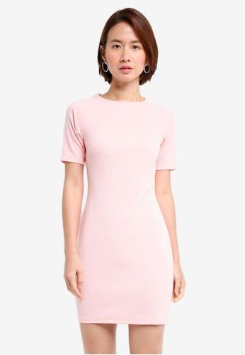 ZALORA BASICS pink Short Sleeve Bodycon Dress A0E79AA672F05CGS_1