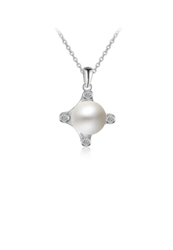 Glamorousky white 925 Sterling Silver Mothers Day Pearl Pendant with Necklace CA83EACA84DDB4GS_1