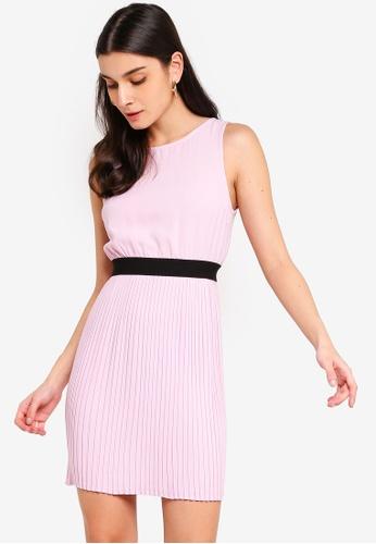 ZALORA 紫色 無袖褶飾短洋裝 B5533AA5E062C8GS_1
