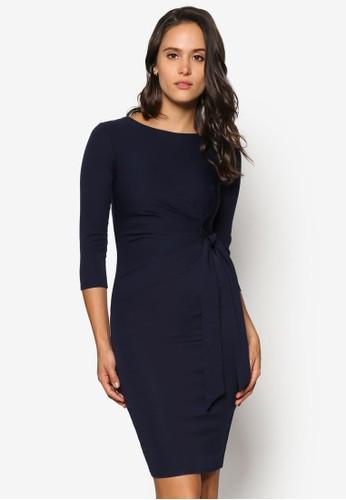 繫zalora 包包 ptt帶腰飾貼身及膝連身裙, 服飾, 洋裝