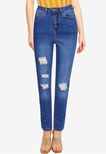 MISSGUIDED blue Mg X Assets Distress Sinner Skinny Jeans 0E3ABAAAAA1D35GS_1