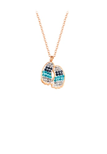 Glamorousky silver Fashion Creative Plated Rose Gold Footprint 316L Stainless Steel Pendant with Cubic Zirconia and Necklace 38608ACB34F35BGS_1