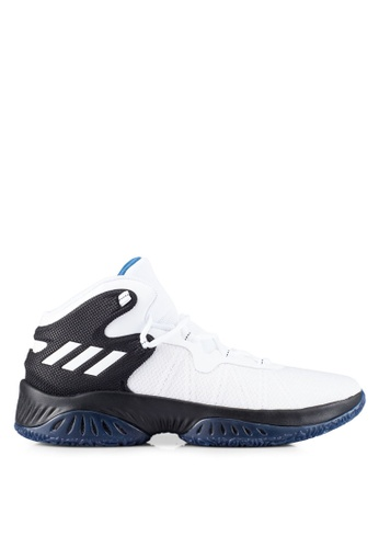 adidas white and blue adidas performance explosive bounce AD372SH0RS6OMY_1
