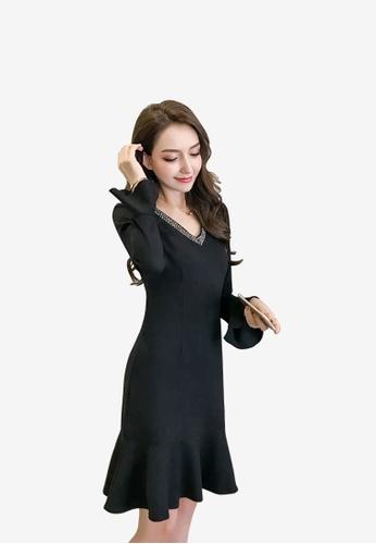 hk-ehunter black Women Irregular Hem Flare Sleeves Dress 5CBF6AA187650DGS_1