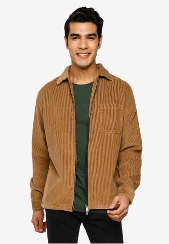 Selected Homme brown Cord Zip Overshirt 9B839AABBDB26BGS_1
