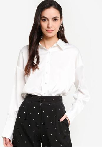 ZALORA WORK white Satin Button Down Shirt 47A0BAABBC4EE6GS_1