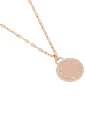 Marc Jacobs pink and gold Marc Jacobs Enamel Logo Disc Pendant Necklace M0008546 Peach Rose Gold D1882ACD3CAF77GS_1