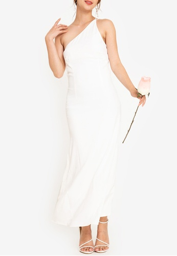 ZALORA OCCASION 白色 Bridesmaid One Shoulder Maxi Dress 7234EAA6E0FCFEGS_1