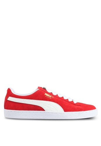 Puma white and red Suede Classic Bboy Fabulous Shoes PU549SH0SWE9MY_1