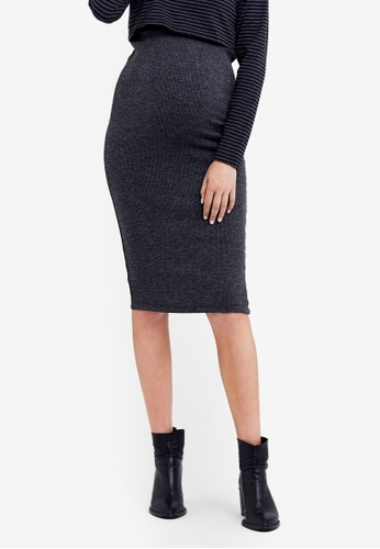 Ripe Maternity grey Maternity Ribbed Knit Pencil Skirt 0296CAADF4EED2GS_1