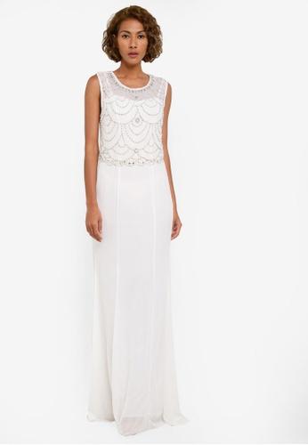 Goddiva white Embellished Chiffon Maxi Dress GO975AA0RUHZMY_1