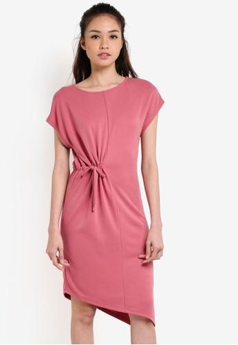 WAREHOUSE pink Slinky Toggle Midi Dress WA653AA80UPNMY_1