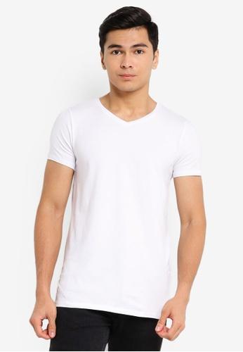 LC Waikiki white V-Neck Short Sleeve Cotton T-Shirt 18E56AABE54208GS_1