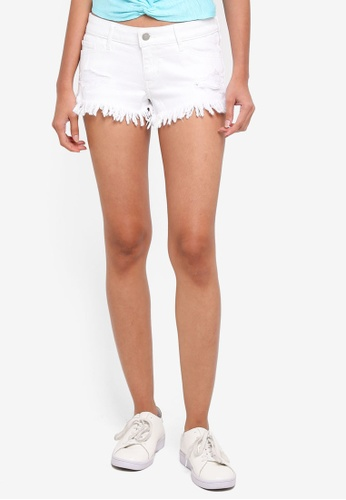 Hollister white White Destroy Fray Hem Shorts 477BDAA560067EGS_1