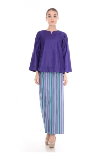 SET LAURA Kurung Kedah Purple Blue Stripe Light from Qaseh Sofea in Purple