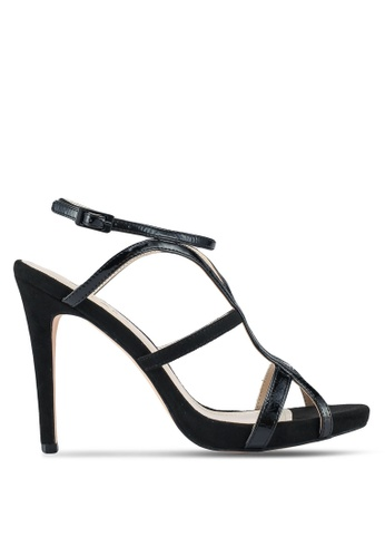 ZALORA black Mixed Materials Sandal Heels With Ankle Strap 1A015SHD9DB59AGS_1