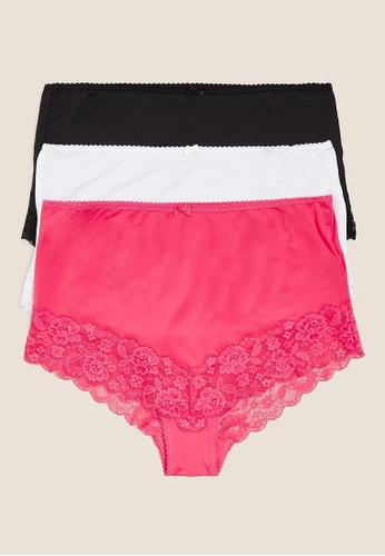 MARKS & SPENCER pink M&S 3Pk Lace Trim Full Briefs 8B49AUSB5456DAGS_1