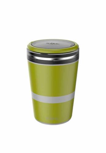 Slique green Stainless Steel Lunch Box 2 Layer Food Storage & 1 Spork F2300HL6495815GS_1