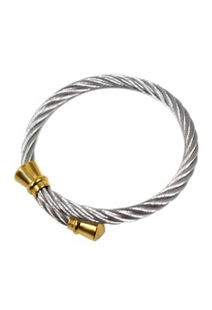 Cable Wire Golden Pointed Knobbed End Cuff Bracelet 20120