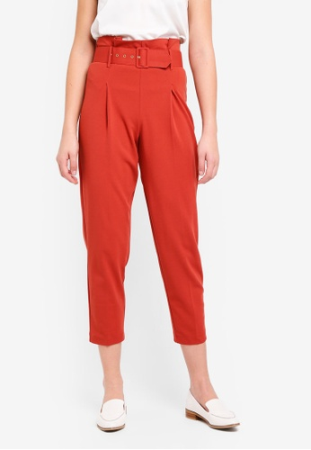 Miss Selfridge red Rust Belted Tapered Leg Trousers 0438CAA9E5749AGS_1