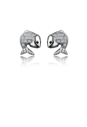 Glamorousky white 925 Sterling Silver Fish Stud Earrings with Austrian Element Crystal 48323AC78BA592GS_1