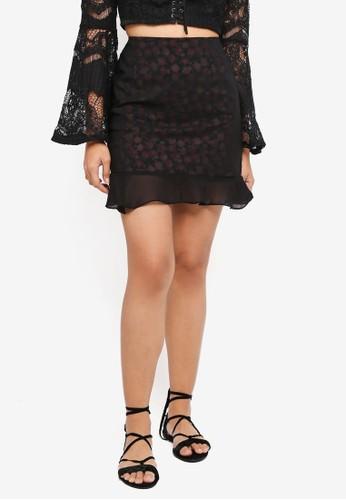 Something Borrowed black Chiffon Overlay Fluted Hem Skirt 7C1D4AAB2A3BB5GS_1