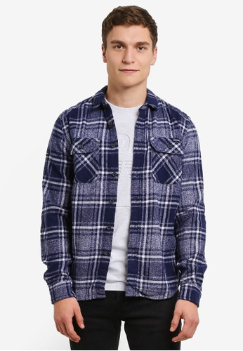 Superdry navy Milled Flannel Shirt SU137AA0RY5YMY_1