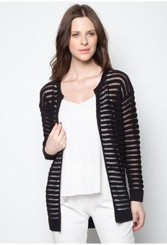 Sheer Stripe Longline Cardigan